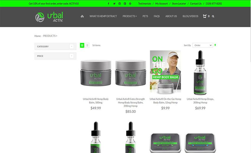 Urbal Activ Shop Page