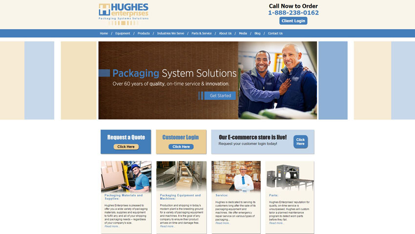 Hughes Entreprises Home Screenshot